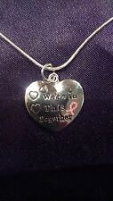 """We're in this Together"" Breast Cancer Pendant on a 925 Sterling Silver Chain"