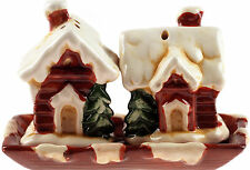 Ceramic Salt And Pepper Snow Covered House Christmas Novelty Festive Cruet Set