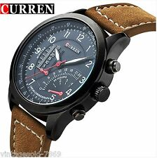 2016 New Fashion Curren Branded RDE Leather Strap Military wrist Watch  COD