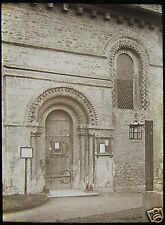 Glass Magic Lantern Slide NORTH DOOR IFFLEY CHURCH OXFORDFORSHIRE C1920 PHOTO