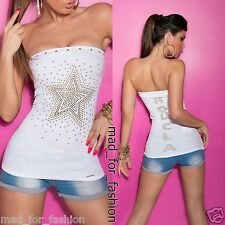 SEXY BANDEAU WHITE TOP WITH STUDDED STAR. UK 8/10 EU 36/38 S/M.