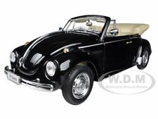 VOLKSWAGEN BEETLE CONVERTIBLE BLACK 1/24 DIECAST CAR MODEL BY WELLY 22091