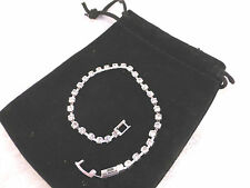 Silver Plated Rhinestone Tennis Bracelet Single Row Design Bridal, Prom or Party