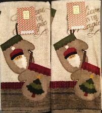 Set Of 2 Holiday Mittens Christmas Kitchen Bathroom Dish or Hand Tea Towels