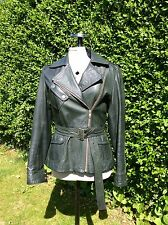 CACHAREL BOTTLE GREEN LEATHER BIKER JACKET UK 10