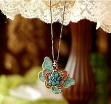 Women Lady Cute Butterfly Enamel Pendant Necklace Rhinestone Vintage Jewelry