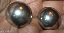 Scandinavian designed mid-century domed hollow silver clip-on earrings Unmarked