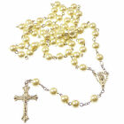 Christian white metal long rosary beads Our Lady center 8mm beads silver cross