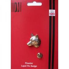 SILVER LUPO Testa Peltro bavero pin badge fatti a mano in Inghilterra WOLF SCUDETTI NUOVI