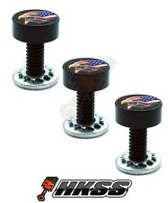 3 Black Billet Fairing Windshield Bolts for 93-13 Harley - USA FLAG EAGLE B PR0