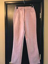 Paolo Santini Women's 6 High Waisted Ostrich Leather Pants NWT Dusty Rose Pink *