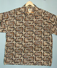 Kahala Hawaiian Islands Trout Fly Fishing Pattern Aloha Camp Shirt Men's XL