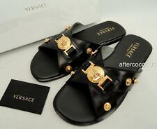 VERSACE MENS Medusa Black Leather Sandals Shoes UK8-8.5 EU42.5 US9- 9.5