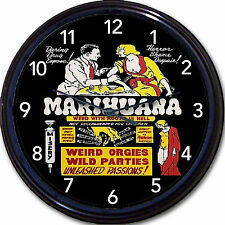 Marijuana Anti Drug Propaganda Poster Wall Clock Grass Weed Pot Marihuana 10""