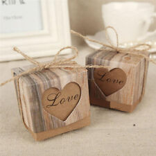 12Pcs Heart Love Rustic Sweet Brown Retro Candy Gift Boxes Wedding Party Favour