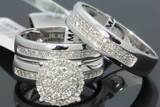10K WHITE GOLD .83 CARAT MEN WOMEN DIAMOND TRIO ENGAGEMENT WEDDING RING BAND SET