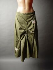 Olive Green Forest Hippie Boho Goa Fairy Boho Floral Embroidery Cinched Skirt M