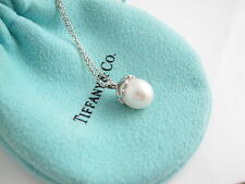 Tiffany RARE Silver Heart Cap Pearl Necklace Pendant Charm 18 Inch Chain!