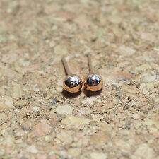 14K/14ct Rose Gold Plated Cute Small 5mm Ball Bead Stud Earrings