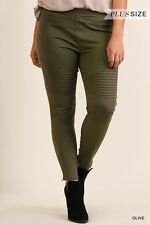 NWOT Womens Umgee Brand Stretchy Olive Color Moto Jeggings Sz XL