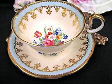 AYNSLEY TEA CUP AND SAUCER FLORAL BABY BLUE GOLD GILT TEACUP PATTERN