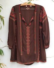 Embroidered Bohemian Tunic Top S Small Longer Length Spring Top Rayon