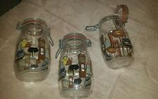 3 RARE VINTAGE FRANCE GLASS ARC NIVEAU DE REMPLISSAGE JARS