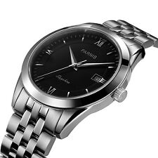 40mm Parnis Black Dial Sapphire Stainless Steel Strap Men Wemen's Watch