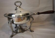 "Vintage Silverplate 12"" Chafing Dish Stand Burner Lid Complete Silver Plated"