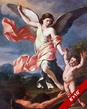 ANGEL & DEVIL FIGHTING OVER CHILD PAINTING BIBLE CHRISTIAN ART REAL CANVAS PRINT