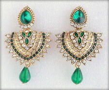 Designer Indian Gold Plated Green Bridal Wedding Costume Jewelry Earrings