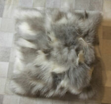 GENUINE BEAUTIFUL GREY & WHITE WINTER FOX FUR 50CM SQUARE CUSHION COVER