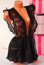 $198 NWT VICTORIA'S SECRET Designer VS Set Babydoll V-String 100%Silk S Black
