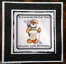 Handmade Personalised Birthday Card ANY AGE 45th 50th Golf Husband Nephew Son