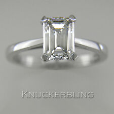 Diamond Solitaire Ring Certified 1.50ct H VS2 VG Emerald Cut 18ct White Gold