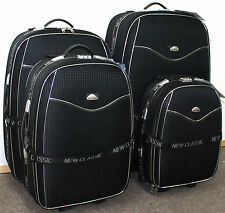 LIGHTWEIGHT SET OF 4 SUITCASE WHEEL TROLLEY CASE TRAVEL LUGGAGE SUITCASES BLACK