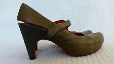 Tsubo Acrea womens brown gray leather heels slingbacks shoes sz 7