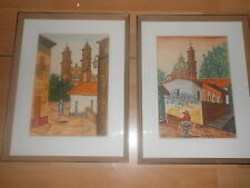 Mid Century Taxco MEXICO WATERCOLOR PAINTING Citiscape Cathedral FRAMED Pair