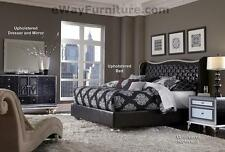 AICO Starry Night Queen Tufted Black Leather & Crystal Bed Bedroom Set Furniture