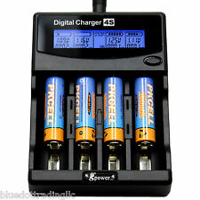 4 pcs x AA 2600mAh 1.2V Ni-MH Rechargeable Battery GPower + LCD Smart Charger