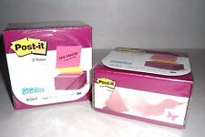 "2 X Post It Notes Pop Up Desk Grip Dispensers, Alternating Pink & Yellow 3"" x 3"""