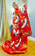 BOLD Red & Gold Embroidered Japanese Uchikake Wedding Kimono - Cranes & Floral