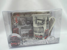 LONDON Scene Mug Coaster Tray Gift Set Big Ben/London Bus etc Design