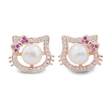 Lovely Hello Kitty Clear Crystal Pearl 925 Sterling Silver Rose Gold Earrings
