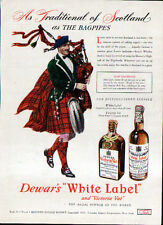 1946 DEWAR'S WHITE LABEL AD- CLAN MACGREGOR -- BAGPIPES