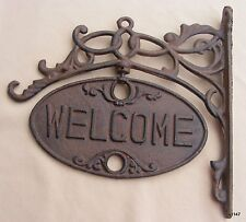 Upper Deck Welcome or Go Away Sign Ornate Cast Iron Front Door Plaque (3 Holes)