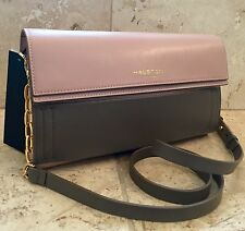 NWT $450 HALSTON HERITAGE Pink Grey Italian Leather Shoulder Bag/Clutch w Chain