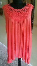 New Directions Women Plus Coral Sharkbite Lace Top Easy Trim Sleeveless Sz 2X