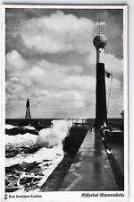 19576 Foto AK Ostsee Warnemünde Wetter Station und Leuchtturm um 1935