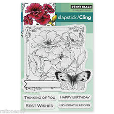 New Penny Black COLLAGE OF WISHES Slapstick Cling Rubber Stamp Flowers Birthday